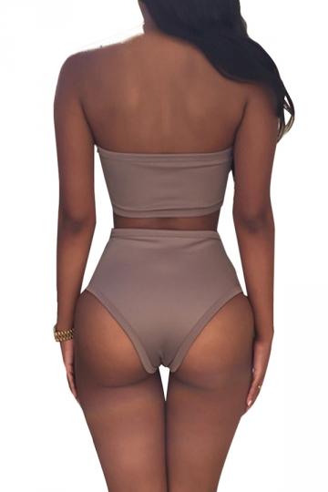 Khaki Bandage Cut Out Bikini Top & Charming Swimwear Bottom