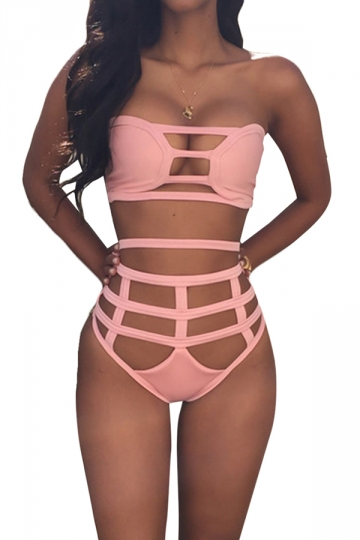 Pink Bandage Cut Out Bikini Top & Charming Swimwear Bottom