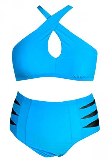 Blue Plus Size Cross Bandage Bikini Top & High Waist Swimwear Bottom