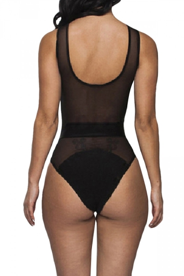 Black Ladies See Through Mesh Monokini