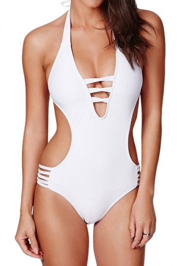 White Cut Out Halter Backless Charming Ladies Monokini