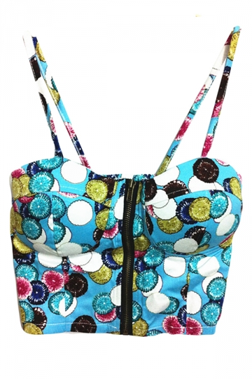 Blue Ladies Candy Printed Spaghetti Straps Camisole Top