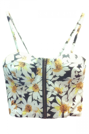 Yellow Ladies Daisy Printed Spaghetti Straps Camisole Top
