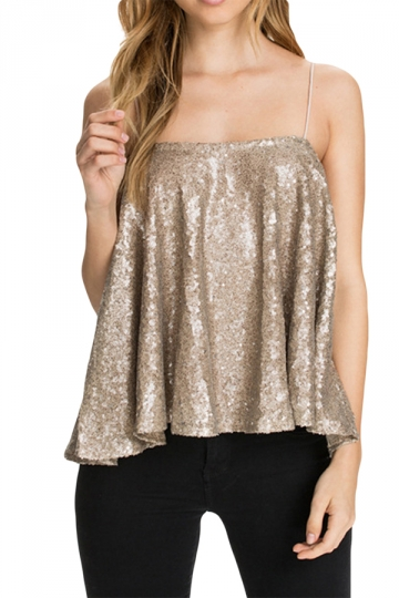 Gold Ladies Sexy Sequin Pleated Camisole Top