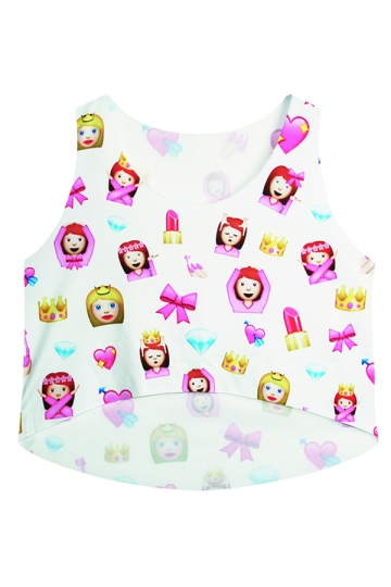 White Cute Emoji Printed Womens High Low Crop Top