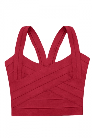 Red Bandage Zipper Sexy Ladies Crop Top
