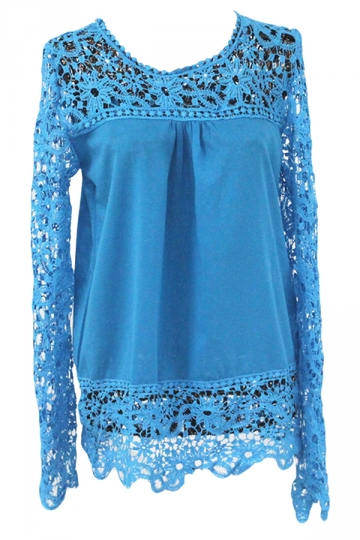 Blue Ladies Hollow Out Long Sleeve Lace Blouses