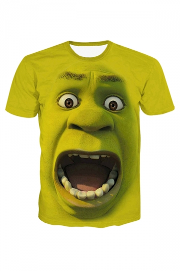 Green Shrek Printed Crew Neck Chic Ladies T Shirt
