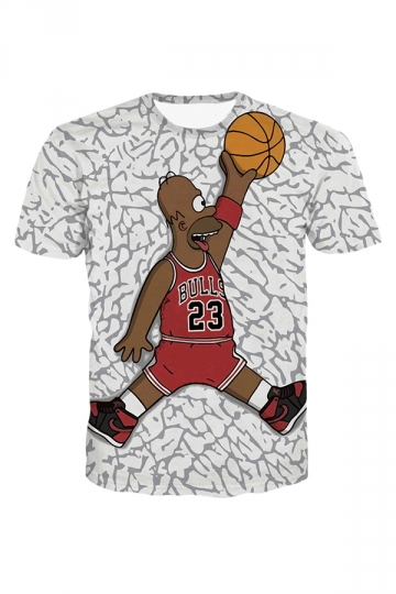 White Basketball Cartoon Character Printed Crew Neck Ladies T Shirt