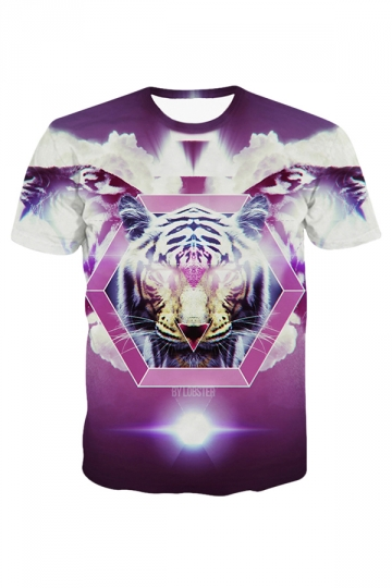 Purple Tiger Printed Crew Neck Fashion Ladies T Shirt