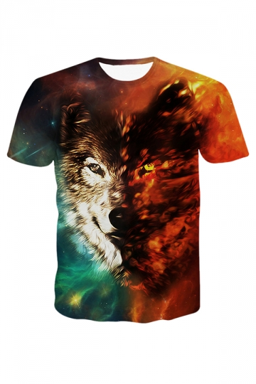 Red Wolf Printed Fantasy Womens T Shirt