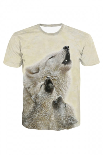 Beige Wolf Family Printed Chic Ladies T Shirt