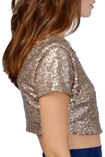 Gold Sequined Backless Sexy Chic Ladies Crop Top
