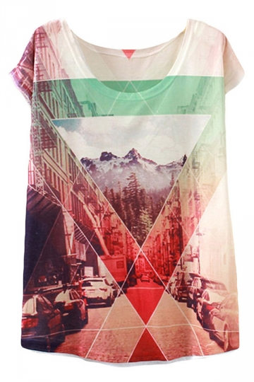 White City Forest Printed Casual Stylish Womens Tee Shirt
