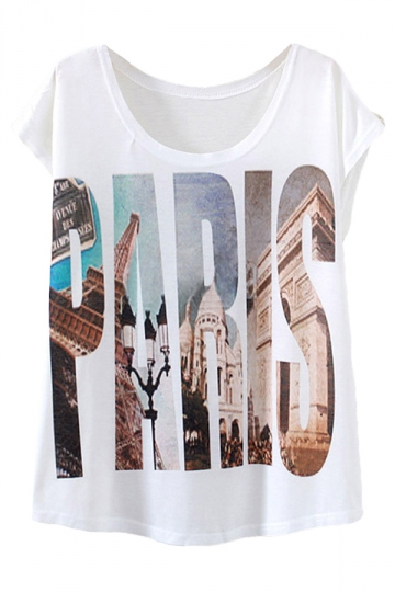White Letter Paris Printed Casual Stylish Womens Tee Shirt