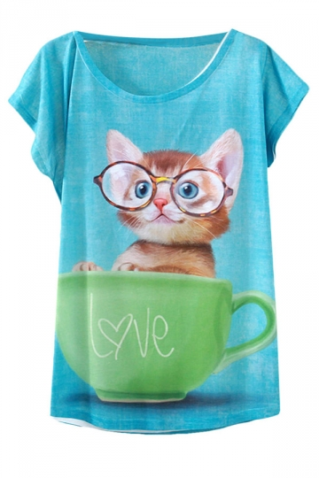 Blue Cup Cat Printed Casual Stylish Womens Tee Shirt