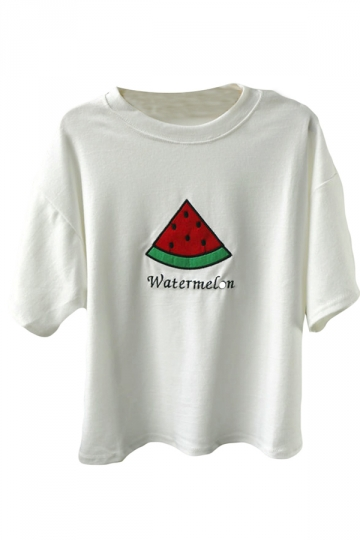 White Ladies Watermelon Short Sleeve Full Cotton T Shirt
