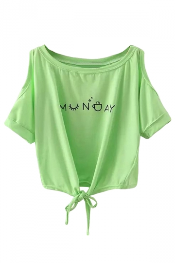 Green Letter Printed Off Shoulder Bow Chic Ladies T Shirt