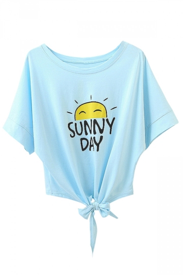 Blue Sunny Day Printed Bow Chic Womens Tee Shirt