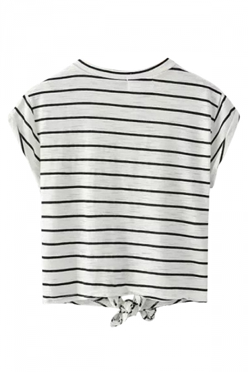 Black Striped Leopard Printed Bow Casual Ladies Tee Shirt