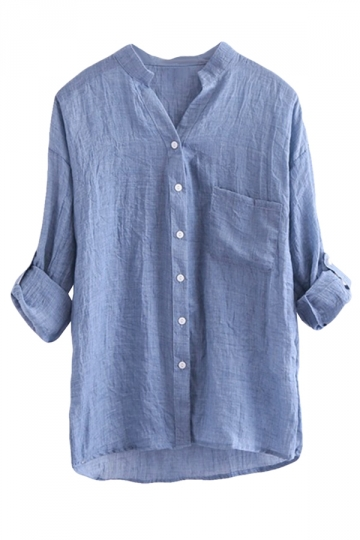 Blue Stand Collar Plain Button Three Quarter Sleeve Ladies Blouse