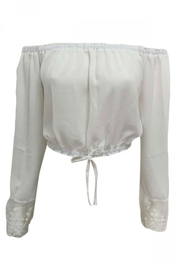 White Lace Up Long Sleeve Bateau Sexy Ladies Tube Top