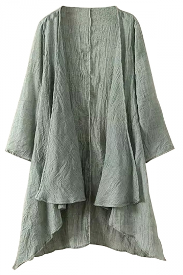 Green Irregularly Plain Plus Size Womens Cape Blazer