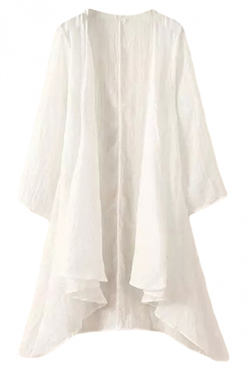 White Irregularly Plain Plus Size Womens Cape Blazer