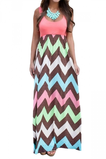 Watermelon Red Wave Grain Floral Printed Maxi Dress