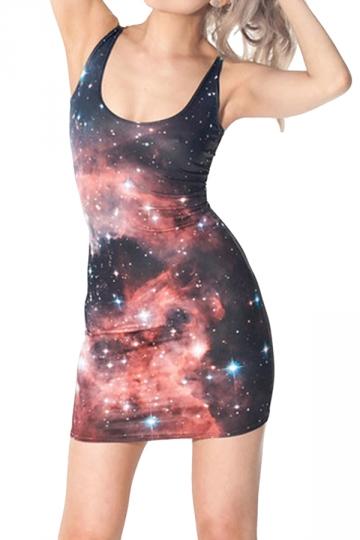 Black Galaxy Printed Charming Womens Tank Dress