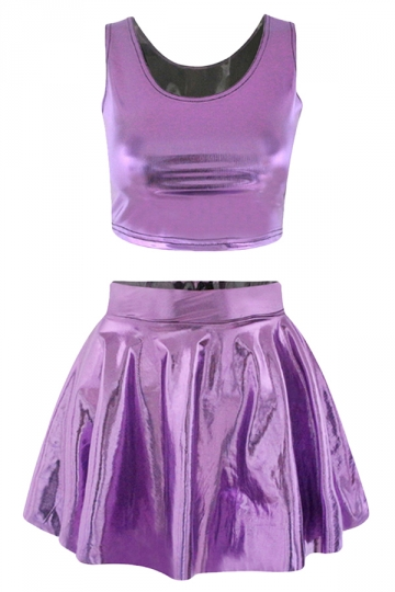 Purple Plain Sexy Fashion Womens Skirt Suit