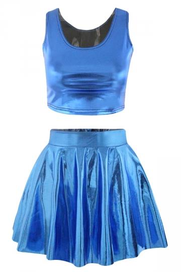 Sapphire Blue Plain Sexy Fashion Womens Skirt Suit