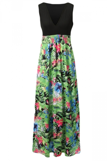 Green Red Sexy Deep V Neck Floral Printed Maxi Dress