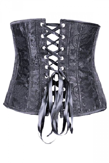 Black Jacquard Lace Zipper Fashion Ladies Waist Training Corset