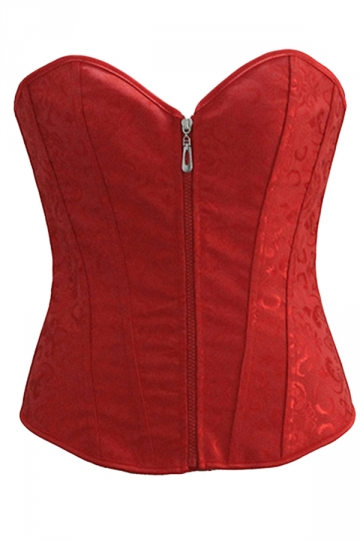 Red Jacquard Zipper Sexy Womens Over Bust Corset