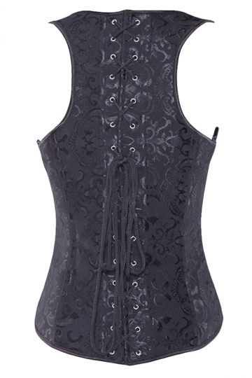 Black Jacquard Steel Button Back Cross Lace Straps Sexy Ladies Corset
