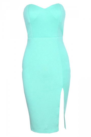 Blue Plain Slit Sexy Womens Tube Dress