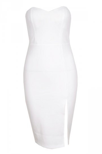 White Plain Slit Sexy Womens Tube Dress