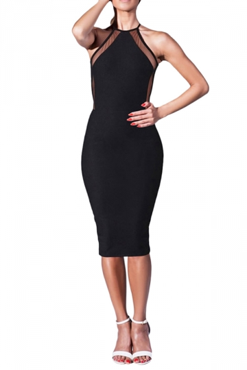 Black Halter Backless Sexy Womens Bodycon Dress Pink Queen