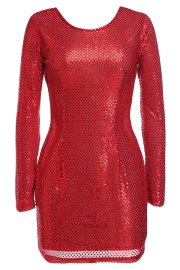 Red Backless Sequined Sexy Womens Long Sleeve Dress
