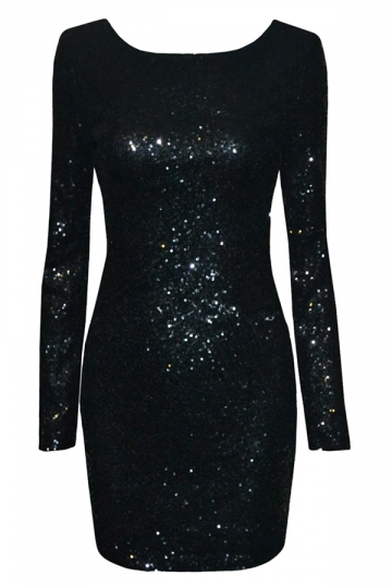 Black Sequined Backless Sexy Chic Ladies Long Sleeve Dress