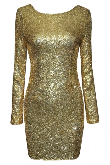 Gold Sequined Backless Sexy Chic Ladies Long Sleeve Dress