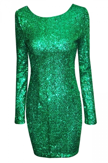 Green Sequined Backless Sexy Chic Ladies Long Sleeve Dress