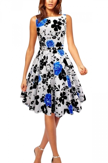Blue Floral Printed Pleated Elegant Womens Midi Dress