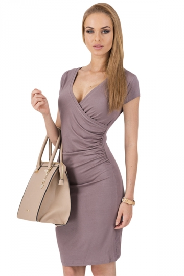 Coffee V Neck Pleated Plain Stylish Womens Bodycon Dress