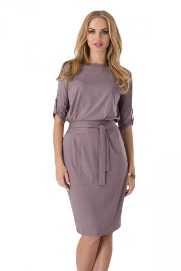 Coffee Sash Long Sleeve Charming Chic Womens Midi Dress