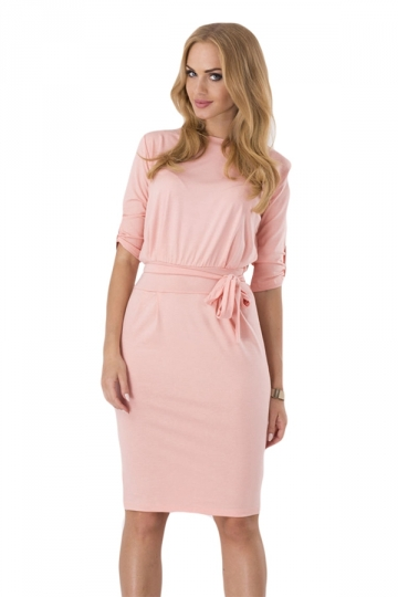 Pink Sash Long Sleeve Charming Chic Womens Midi Dress