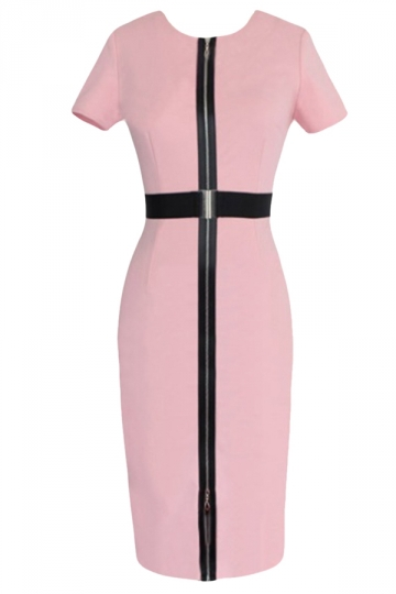 Pink Zipper Slimming Chic Womens Midi Dress With Sash