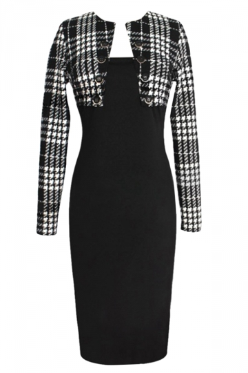 Black Long Sleeve Plaid Patchwork Stylish Ladies Midi Dress