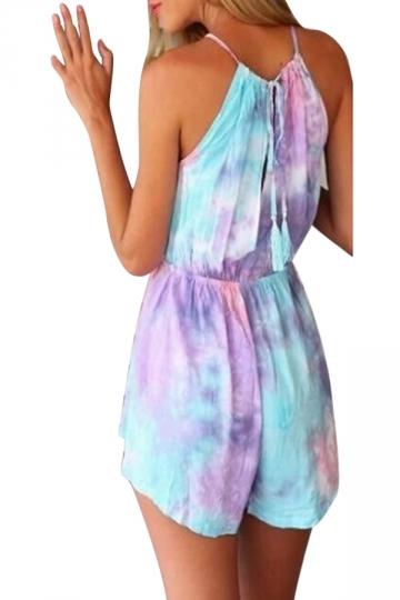 Purple Rainbow Sky Tie Dye Chic Womens Romper